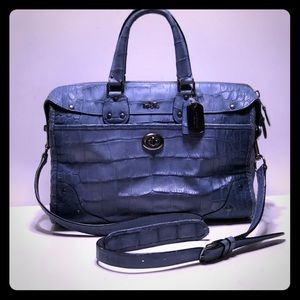 Coach Rhyder satchel in croc emboss. denim leather